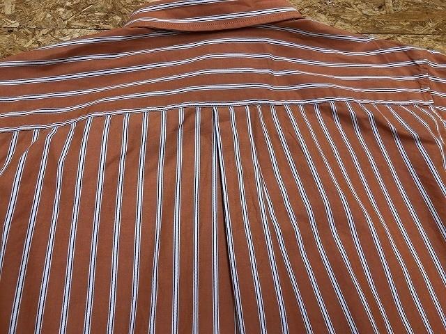 Eddie Bauer エディーバウアー Lサイズ メンズ インポート古着 シャツ 長袖 マルチストライプ 胸ポケット付き 綿100% オレンジ×白×青_画像4