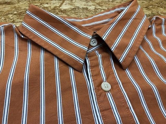 Eddie Bauer エディーバウアー Lサイズ メンズ インポート古着 シャツ 長袖 マルチストライプ 胸ポケット付き 綿100% オレンジ×白×青_画像7