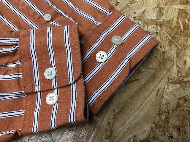 Eddie Bauer エディーバウアー Lサイズ メンズ インポート古着 シャツ 長袖 マルチストライプ 胸ポケット付き 綿100% オレンジ×白×青_画像3