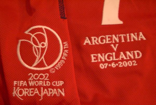 02W杯 イングランド(A) #7 ベッカムBECKHAM 長袖 UMBRO正規 アルゼンチン戦 FIFAロゴ刺繍 XL