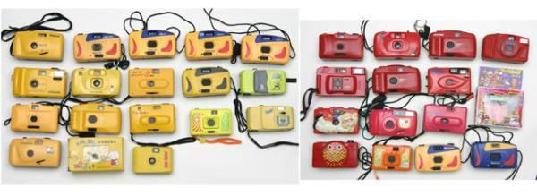 フィルムカメラコレクター御用  カラフルフィルムカメラ希少品260台 イベント集客効果大_これだけの数の展示は世界唯一の展示会です