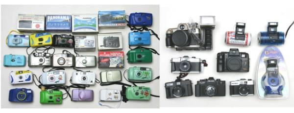 フィルムカメラコレクター御用  カラフルフィルムカメラ希少品260台 イベント集客効果大_世代を超えて展示品を楽しめます。世界唯一