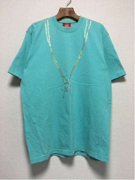 [即決古着]WHOLENINE/ホールナイン/だまし絵Tシャツ/半袖/ネックレス/ラインストーン/水色/XL1