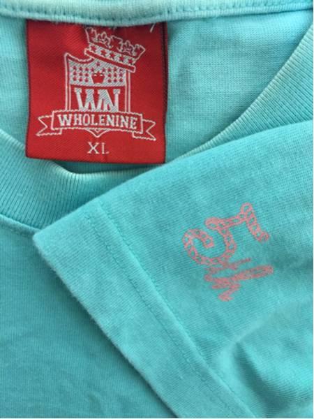 [即決古着]WHOLENINE/ホールナイン/だまし絵Tシャツ/半袖/ネックレス/ラインストーン/水色/XL3