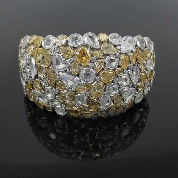 新品《19ctダイヤモンドFG/VS》18Kハンドメイド・カフバングル_画像1