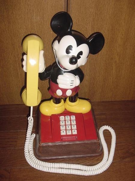 送料不要♪ディズニー1970年代USAアメリカ米国アンティークミッキーマウスの可動電話機_レトロなコード付き