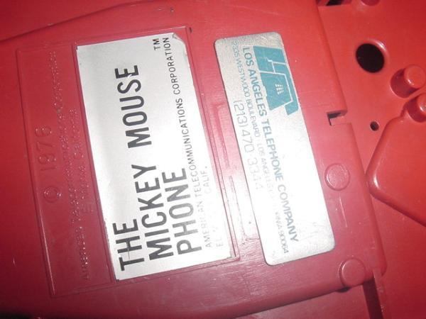 送料不要♪ディズニー1970年代USAアメリカ米国アンティークミッキーマウスの可動電話機_AT社製