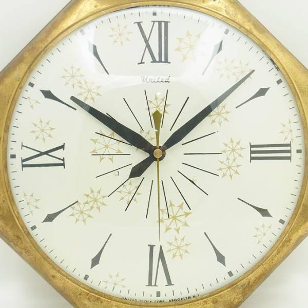 送料無料 アンティークウォールクロック UNITED/ヴィンテージ壁掛け時計アメリカ製usa製ミッドセンチュリー60s70s懐中時計ポケットクロック_画像3