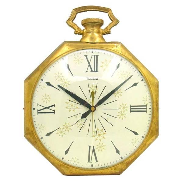 送料無料 アンティークウォールクロック UNITED/ヴィンテージ壁掛け時計アメリカ製usa製ミッドセンチュリー60s70s懐中時計ポケットクロック_画像1
