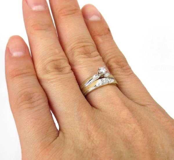 【ヴィンテージ】 0.16ct ダイヤモンド 14金 リング セット_画像3