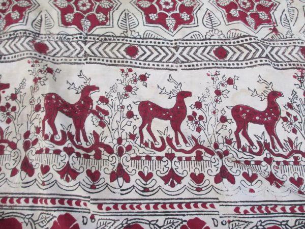 インド 木彫りの版木更紗 木綿 鹿と虎模様 18世紀中期_画像2
