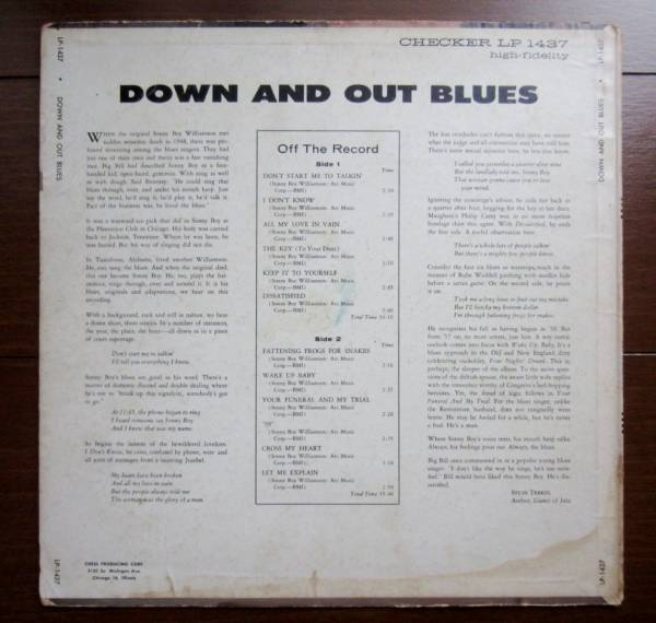 ■SONNY BOY WILLIAMSON DOWN AND OUT BLUES /US 1st MONO_画像2