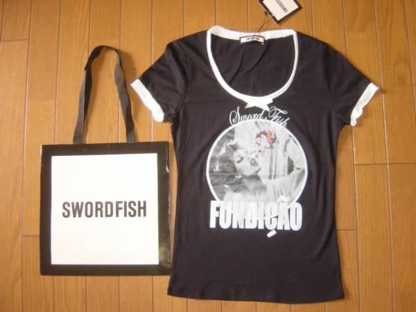 New Swordfish ★ Girl & ribbon short-sleeved T-shirt black SWORDFISH