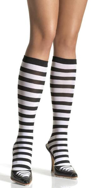 5577BKRD Leg Avenue ボーダーハイソックス 黒×赤 新品 OS ワンサイズ フリーサイズ ストライプ 靴下 コスプレ レッグアベニュー アメリカ_画像1