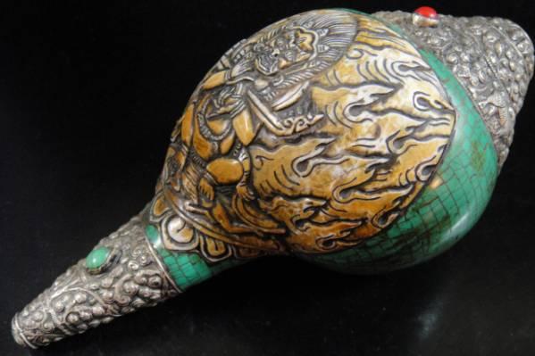 チベット密教法具法螺貝シャンカsilver製マハーカーラ(大黒天B