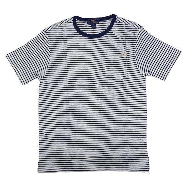 新品 POLO RALPH LAUREN BOYS S/S T-SHIRT ポロ ラルフローレン 半袖 Tシャツ ホワイト ネイビー ボーダー カットソー ポニー L 正規品 96A_画像3