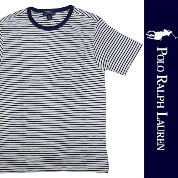 新品 POLO RALPH LAUREN BOYS S/S T-SHIRT ポロ ラルフローレン 半袖 Tシャツ ホワイト ネイビー ボーダー カットソー ポニー L 正規品 96A_画像1