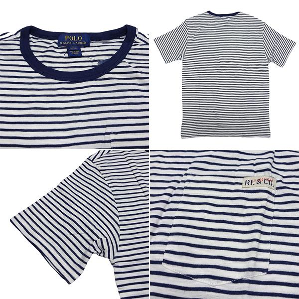 新品 POLO RALPH LAUREN BOYS S/S T-SHIRT ポロ ラルフローレン 半袖 Tシャツ ホワイト ネイビー ボーダー カットソー ポニー L 正規品 96A_画像2