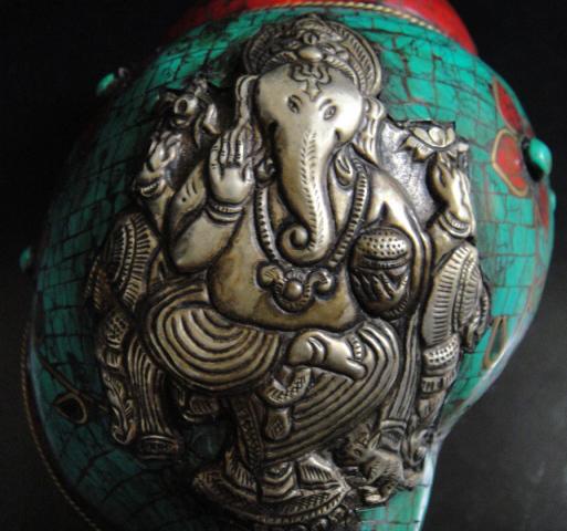 ◆チベット密教法具 法螺貝(シャンカ)ガネーシャ-D