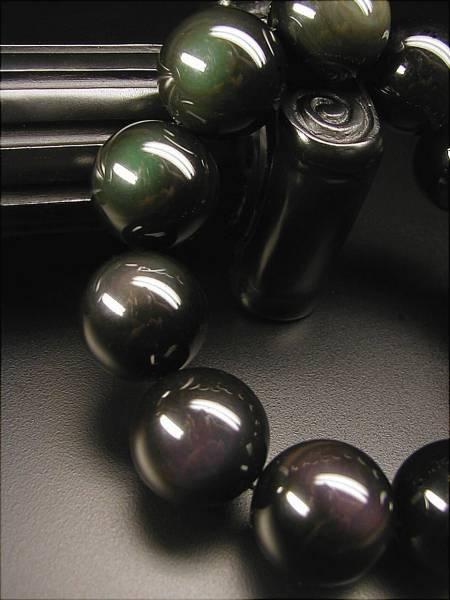 ♪即決【壽】直径18.3mm天然最高AAA級極品黒曜石ブレス_画像2