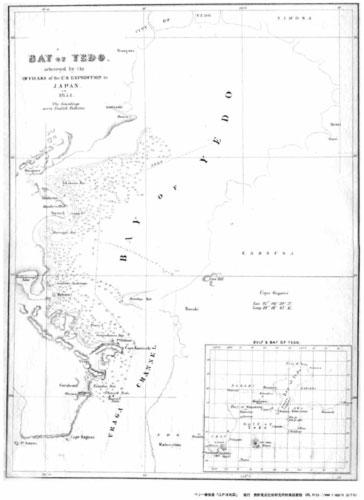 即落,古地図A3モノクロコピー,ペリー報告書「江戸湾地図」海図_画像1