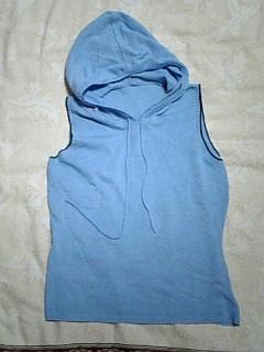 ノースリーブニットパーカー青水色_画像2