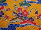 古布 半衿【化繊綸子/琉球紅型 踊り衣装生地 山吹色】はぎれ つまみ細工吊し飾り市松人形 ハンドメイド手作り