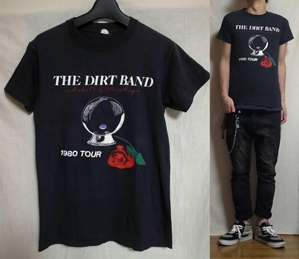☆即買送料込み☆vintage 80's The Nitty Gritty Dirt Band TEE ヴィンテージ Tシャツ 黒 made in usa ニッティ グリッティ ダートバンド_着画モデルは177×62位の男性です。