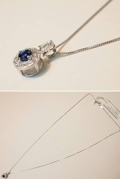 新品 送料無料 K18WG製 天然 ブルー サファイア & ダイヤ アンティーク風 シンプル ペンダント ネックレス//ホワイトゴールド/9月誕生石_バチ環にもダイヤいり。