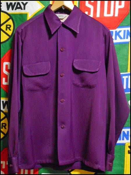 【珍色】ビンテージレーヨンギャバシャツハンドステッチ紫40s50s_画像2