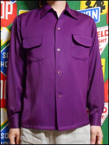 【珍色】ビンテージレーヨンギャバシャツハンドステッチ紫40s50s_画像3