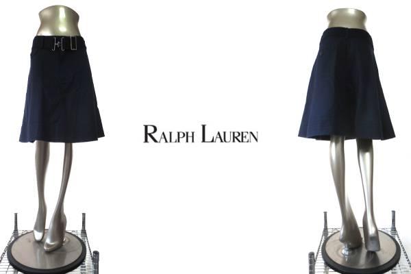 ★R005♪RALPH LAUREN(ラルフローレン)ベルト付き綿スカート紺4_とっても涼しげで可愛いスカートですよ♪