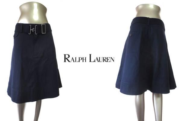 ★R005♪RALPH LAUREN(ラルフローレン)ベルト付き綿スカート紺4_ベルトが付いているのも嬉しいですね♪