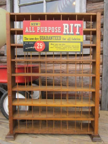 RIT ビンテージ アンティーク店舗什器 木製ディスプレイラック棚