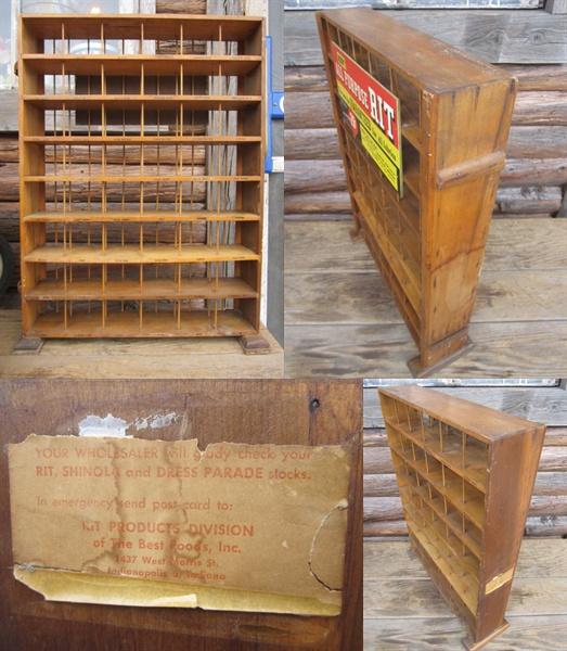 RIT ビンテージ アンティーク店舗什器 木製ディスプレイラック棚_画像2