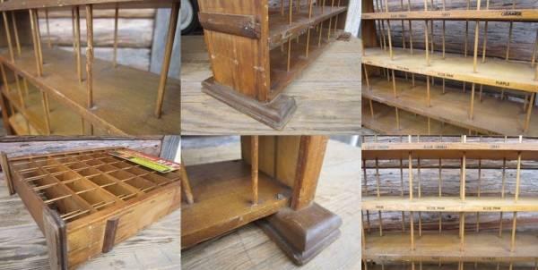 RIT ビンテージ アンティーク店舗什器 木製ディスプレイラック棚_画像3