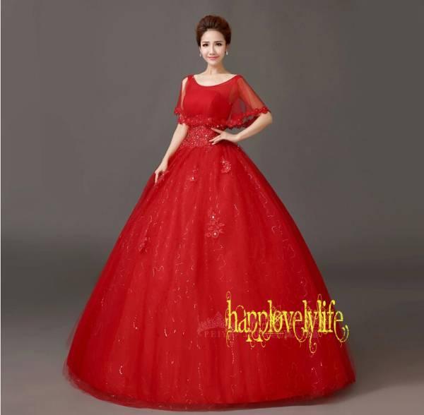 ウェディングドレス☆プリンセスタイプ☆カラードレス☆赤☆白色☆パニエ☆編み上げ