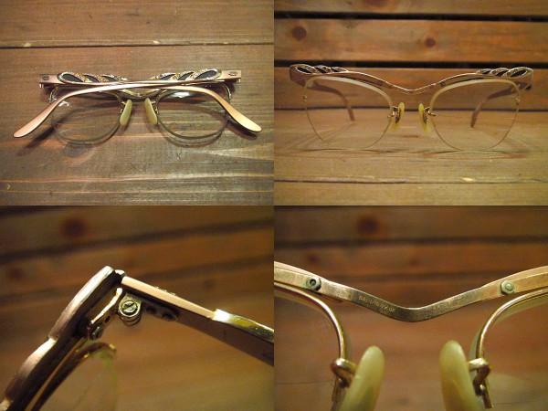 ビンテージ50's60's★B&L LIBERTYリムレスブロー眼鏡★40's12KGF_画像2