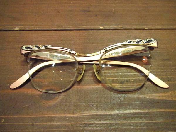 ビンテージ50's60's★B&L LIBERTYリムレスブロー眼鏡★40's12KGF_画像1