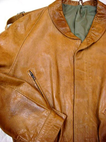 ビンテージ 「?」 アンノウン 60S 70S 希少 デザイン ショールカラー レザー ジャケット ハーフ コート レア キャメル ドローコード 絞り_画像2