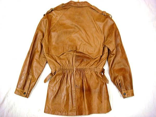 ビンテージ 「?」 アンノウン 60S 70S 希少 デザイン ショールカラー レザー ジャケット ハーフ コート レア キャメル ドローコード 絞り_画像3
