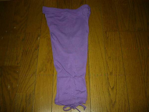 スパッツ 150cm 5分丈 紫 先端 紐あり お洒落を楽しんで 未使用_画像3