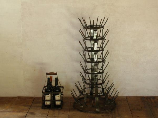 ボトル&グラス用の乾燥台 フランス アンティーク メタル 什器 ヴィンテージ ビンテージ 鉄 グラス掛け FRANCE PARIS パリ 工業系 希少_画像1