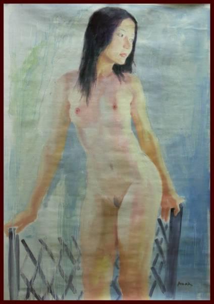 油彩画 透明感のある美しさ「黒髪の裸婦」    Yα