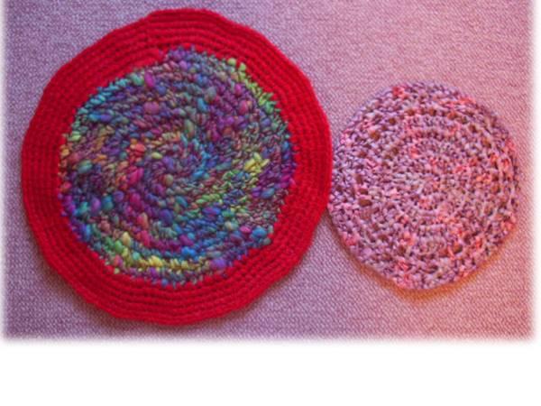 ハンドメイド 手編み 円座④ 2枚組/ニット&リボン 敷物 レトロ アンティーク風 毛糸 手作り_実物はレトロな美しいお色です