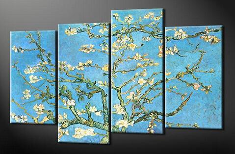 アートパネル ゴッホ『花咲くアーモンドの枝』 20x55cm x 2枚他、4枚組 肉筆 模写