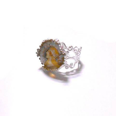 アルフォンス・ミュシャ「黄道十二宮」の絵柄リング指輪_画像1
