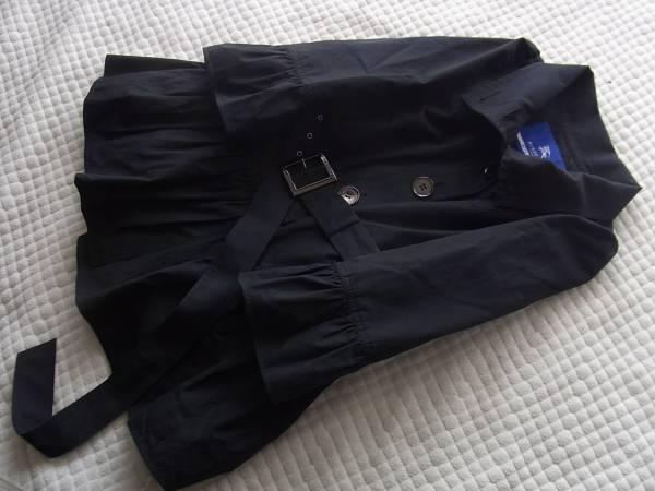 即決/55 希少バーバリーブルーレーベル完売ノバチェックベルト付プリーツふんわりコート黒38サイズ  /55_画像1