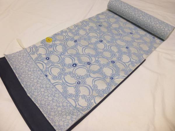 新品・未仕立て★京都西陣・弥栄織物製藍染なごや帯★水玉柄です