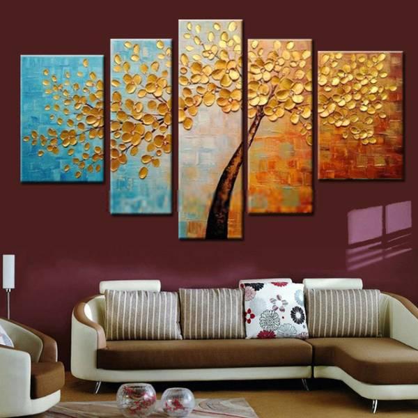 アートパネル 『黄金の樹』 25x40cm x 2枚他、5枚組 肉筆